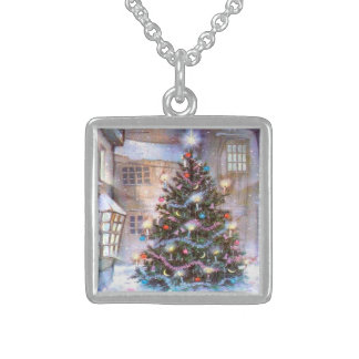 Christmas Tree Vintage Sterling Silver Necklace