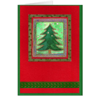 CHRISTMAS TREE WATER COLOR COLLAGE MAP green on Card