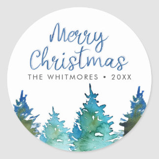 Christmas Tree Watercolor Classic Round Sticker