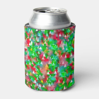 Christmas Tree Watercolor Pattern Can Cooler