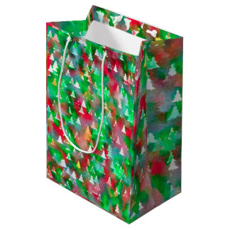 Christmas Tree Watercolor Pattern Medium Gift Bag