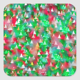 Christmas Tree Watercolor Pattern Square Sticker