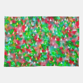 Christmas Tree Watercolor Pattern Tea Towel