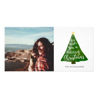 Christmas Tree Watercolor Typography Script Card