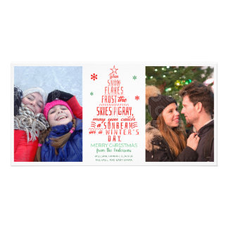 Christmas Tree Winter Snowflakes Poem Family Photo Card