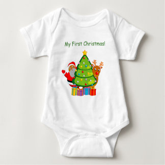 Christmas tree with a black Santa Claus & Rudolph, Baby Bodysuit