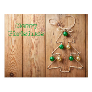 Christmas Tree With Balls On Wooden Background Postcard