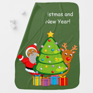 Christmas tree with black Santa Claus and Rudolph, Baby Blanket