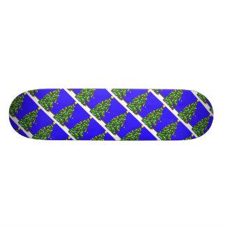 Christmas tree with bulb dots on blue. XMAS13 21.6 Cm Skateboard Deck