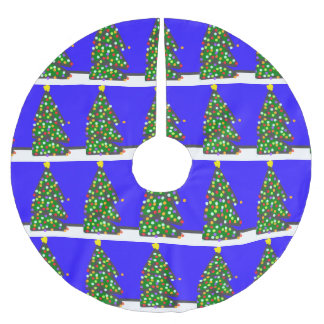 Christmas tree with bulb dots on blue. XMAS13 Brushed Polyester Tree Skirt