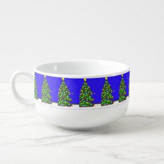 Christmas tree with bulb dots on blue. XMAS13 Soup Mug