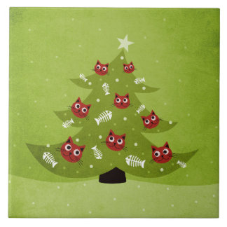 Christmas Tree With Cat And Fish Ornaments Ceramic Tile