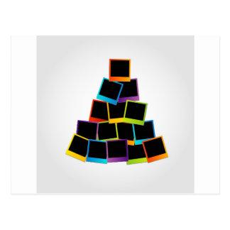 Christmas tree with colorful polaroids postcard
