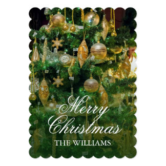 Christmas tree with gold multi-shaped ornaments. 13 cm x 18 cm invitation card