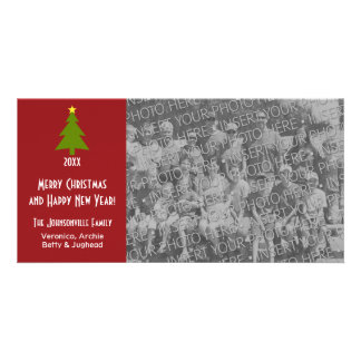 Christmas Tree with one large photo Customised Photo Card