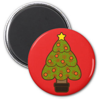 Christmas Tree with Pattern Refrigerator Magnet