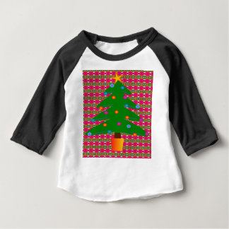 Christmas Tree with Patterned Background Baby T-Shirt