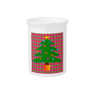 Christmas Tree with Patterned Background Pitcher