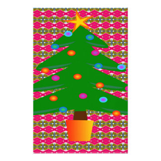 Christmas Tree with Patterned Background Stationery