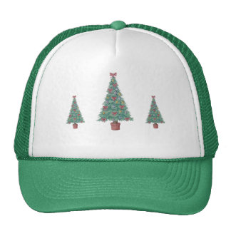 Christmas tree with red bows and baubles green hat