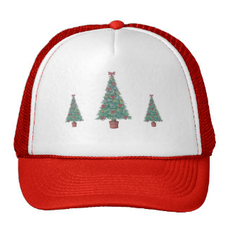 Christmas tree with red bows and baubles red hat
