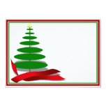 Christmas Tree with Red Ribbon 5x7 Paper Invitation Card