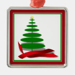 Christmas Tree with Red Ribbon Ornament
