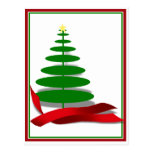Christmas Tree with Red Ribbon Postcard