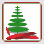 Christmas Tree with Red Ribbon Stickers