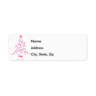 Christmas Tree with Ribbons Breast Cancer Return Address Label