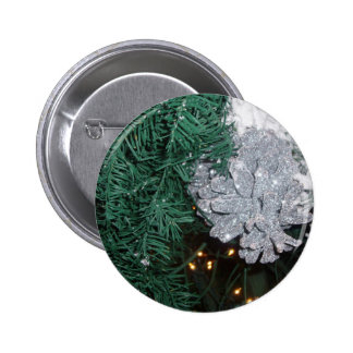 Christmas Tree with Silver Pine Cone Pinback Button