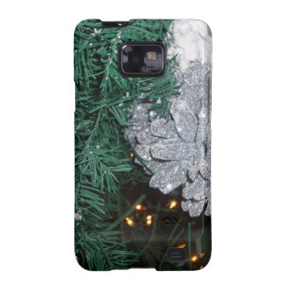 Christmas Tree with Silver Pine Cone Samsung Galaxy S2 Case