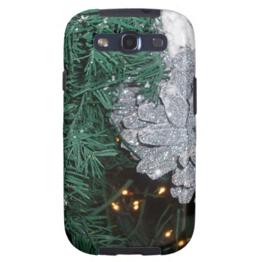 Christmas Tree with Silver Pine Cone Samsung Galaxy S3 Case