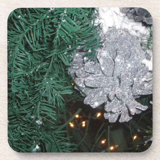 Christmas Tree with Silver Pine Cone Coaster