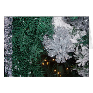 Christmas Tree with Silver Pine Cone Greeting Card