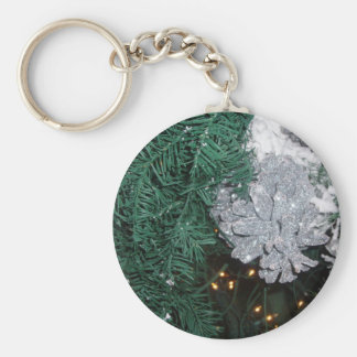 Christmas Tree with Silver Pine Cone Key Chain