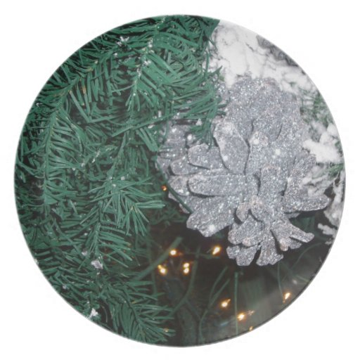 Christmas Tree with Silver Pine Cone Party Plates