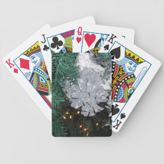 Christmas Tree with Silver Pine Cone Bicycle Card Decks