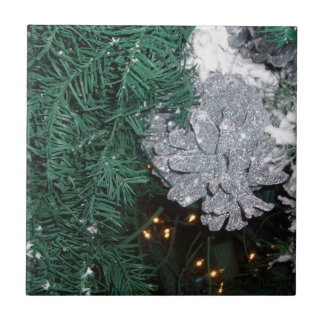 Christmas Tree with Silver Pine Cone Ceramic Tiles