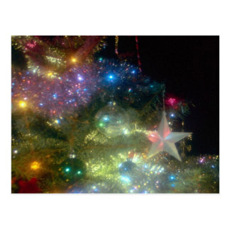 Christmas tree with star at night post cards
