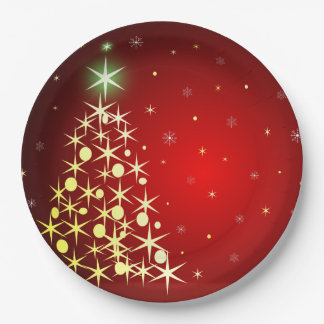 Christmas tree with stars 9 inch paper plate