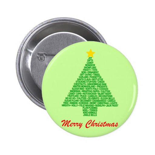 Christmas Tree Words Pinback Buttons