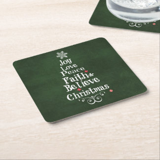 Christmas Tree Words Square Paper Coaster