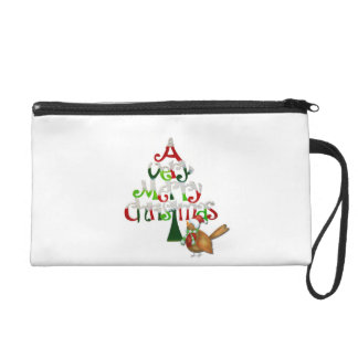 Christmas Tree Words Wristlet Clutches