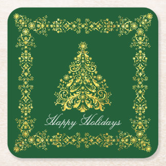 Christmas Tree Your Greeting and Color Square Paper Coaster