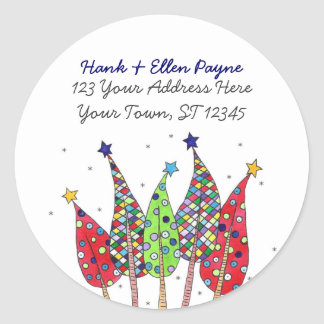 Christmas Trees Address Labels Round Sticker