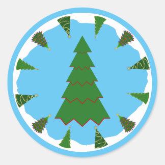 Christmas Trees All Around with Minimal Tree Round Sticker