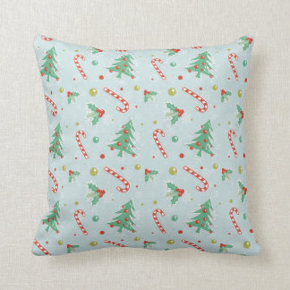 Christmas Trees And Candy Canes Cushion