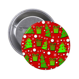 Christmas trees and gifts pattern 6 cm round badge