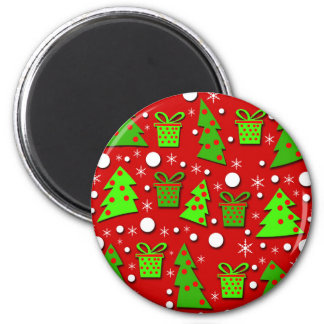 Christmas trees and gifts pattern 6 cm round magnet